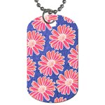 Pink Daisy Pattern Dog Tag (One Side) Front