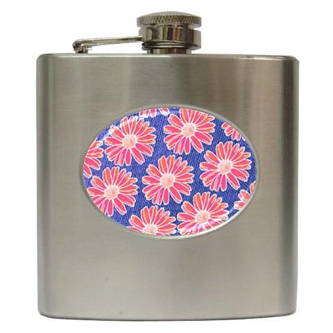 Pink Daisy Pattern Hip Flask (6 oz)