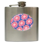 Pink Daisy Pattern Hip Flask (6 oz) Front