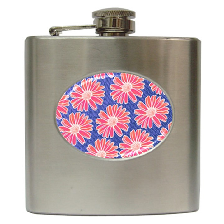 Pink Daisy Pattern Hip Flask (6 oz)