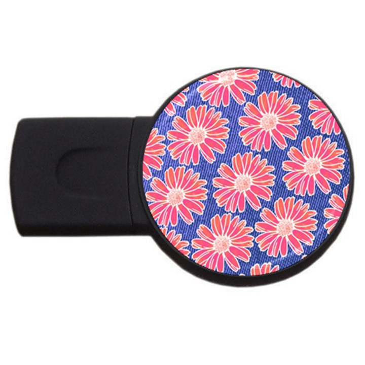 Pink Daisy Pattern USB Flash Drive Round (2 GB)