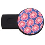Pink Daisy Pattern USB Flash Drive Round (1 GB)  Front