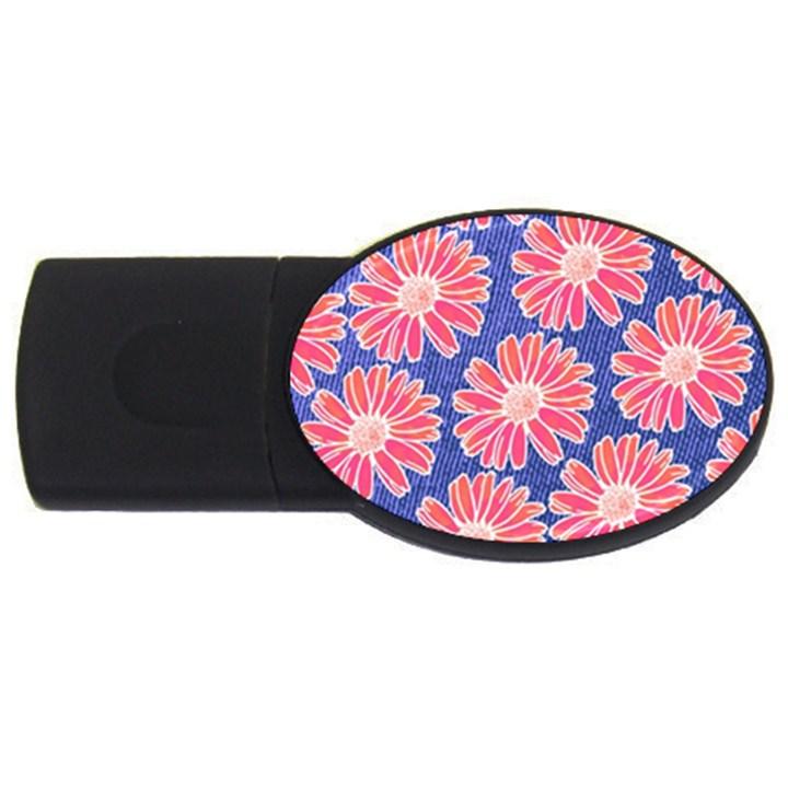 Pink Daisy Pattern USB Flash Drive Oval (2 GB)