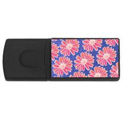 Pink Daisy Pattern USB Flash Drive Rectangular (1 GB)