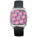 Pink Daisy Pattern Square Metal Watch Front