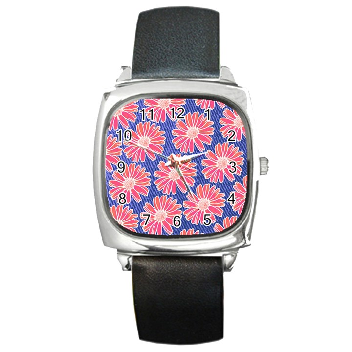 Pink Daisy Pattern Square Metal Watch