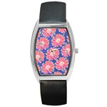 Pink Daisy Pattern Barrel Style Metal Watch Front
