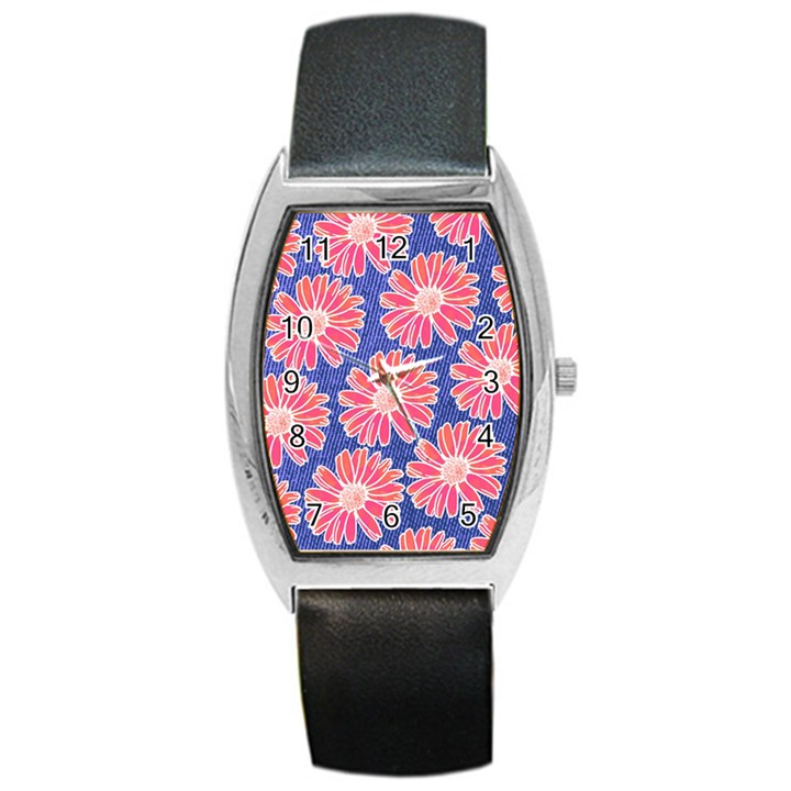 Pink Daisy Pattern Barrel Style Metal Watch