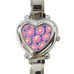 Pink Daisy Pattern Heart Italian Charm Watch Front