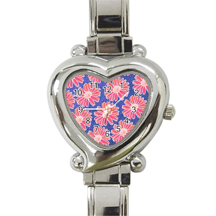 Pink Daisy Pattern Heart Italian Charm Watch