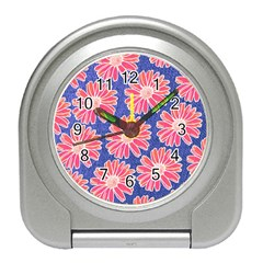 Pink Daisy Pattern Travel Alarm Clocks