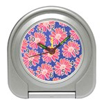 Pink Daisy Pattern Travel Alarm Clocks Front