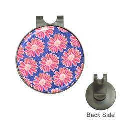 Pink Daisy Pattern Hat Clips with Golf Markers