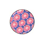 Pink Daisy Pattern Hat Clip Ball Marker (4 pack) Front