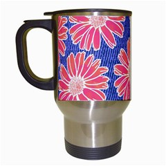 Pink Daisy Pattern Travel Mugs (white)