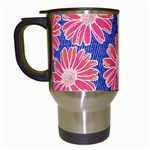 Pink Daisy Pattern Travel Mugs (White) Left