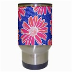 Pink Daisy Pattern Travel Mugs (White) Center