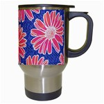 Pink Daisy Pattern Travel Mugs (White) Right