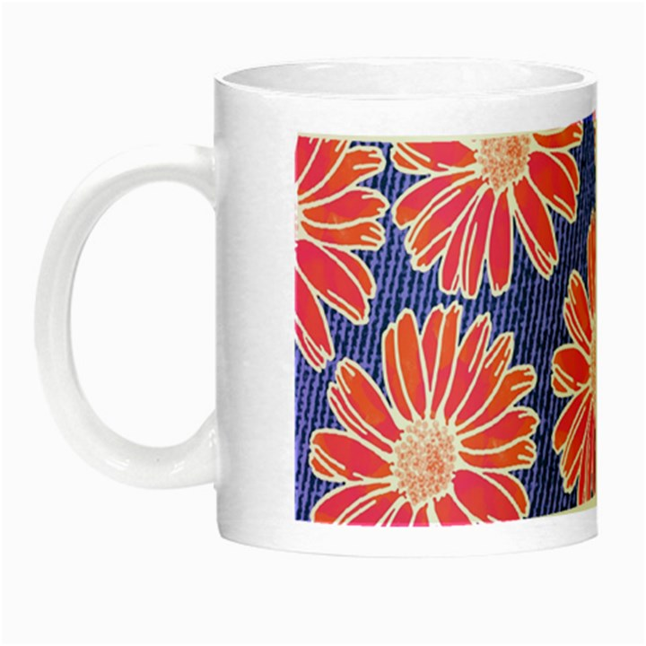 Pink Daisy Pattern Night Luminous Mugs