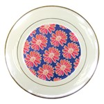 Pink Daisy Pattern Porcelain Plates Front