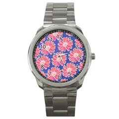 Pink Daisy Pattern Sport Metal Watch