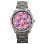 Pink Daisy Pattern Sport Metal Watch Front