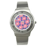 Pink Daisy Pattern Stainless Steel Watch Front