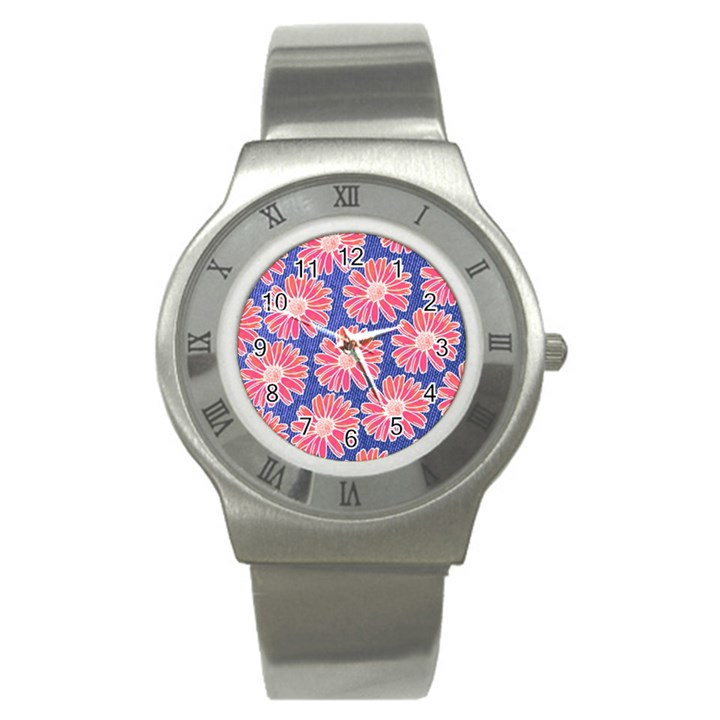 Pink Daisy Pattern Stainless Steel Watch