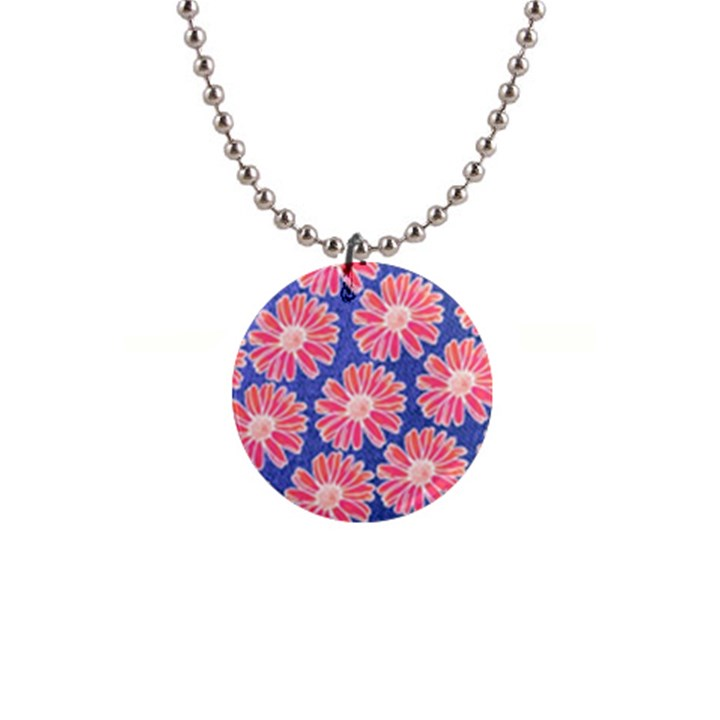Pink Daisy Pattern Button Necklaces