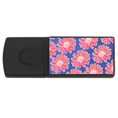 Pink Daisy Pattern USB Flash Drive Rectangular (4 GB)