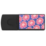 Pink Daisy Pattern USB Flash Drive Rectangular (4 GB)  Front