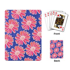 Pink Daisy Pattern Playing Card