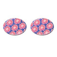 Pink Daisy Pattern Cufflinks (oval)