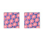 Pink Daisy Pattern Cufflinks (Square) Front