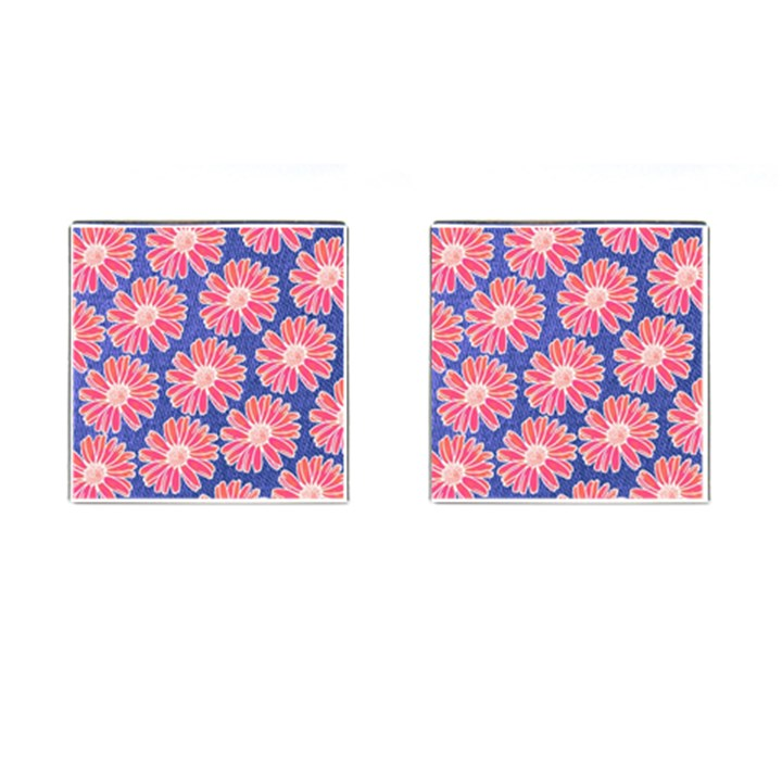 Pink Daisy Pattern Cufflinks (Square)