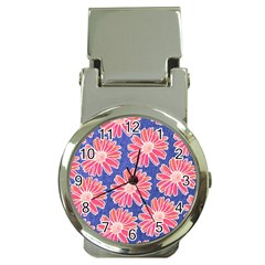 Pink Daisy Pattern Money Clip Watches