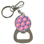 Pink Daisy Pattern Bottle Opener Key Chains Front