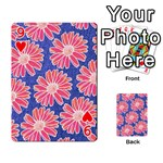 Pink Daisy Pattern Playing Cards 54 Designs  Front - Heart9