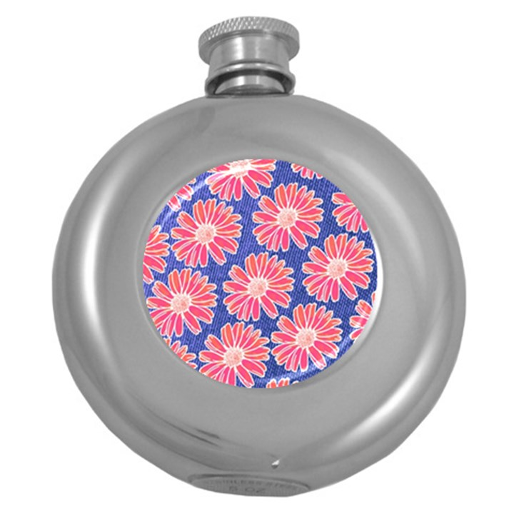 Pink Daisy Pattern Round Hip Flask (5 oz)