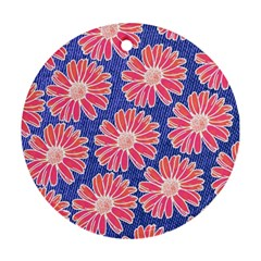 Pink Daisy Pattern Round Ornament (Two Sides)