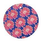 Pink Daisy Pattern Round Ornament (Two Sides)  Front