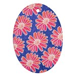 Pink Daisy Pattern Oval Ornament (Two Sides) Front