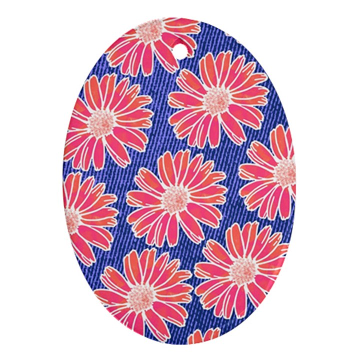 Pink Daisy Pattern Oval Ornament (Two Sides)
