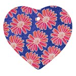 Pink Daisy Pattern Heart Ornament (2 Sides) Front