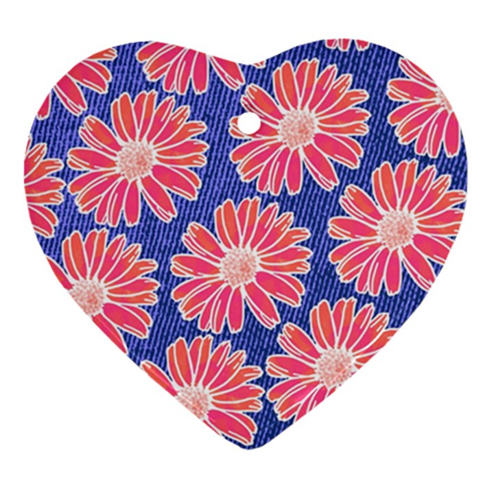 Pink Daisy Pattern Heart Ornament (2 Sides)
