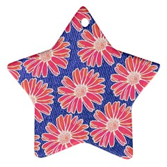 Pink Daisy Pattern Star Ornament (two Sides)