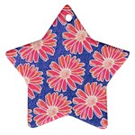 Pink Daisy Pattern Star Ornament (Two Sides)  Back