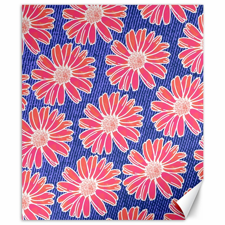 Pink Daisy Pattern Canvas 8  x 10