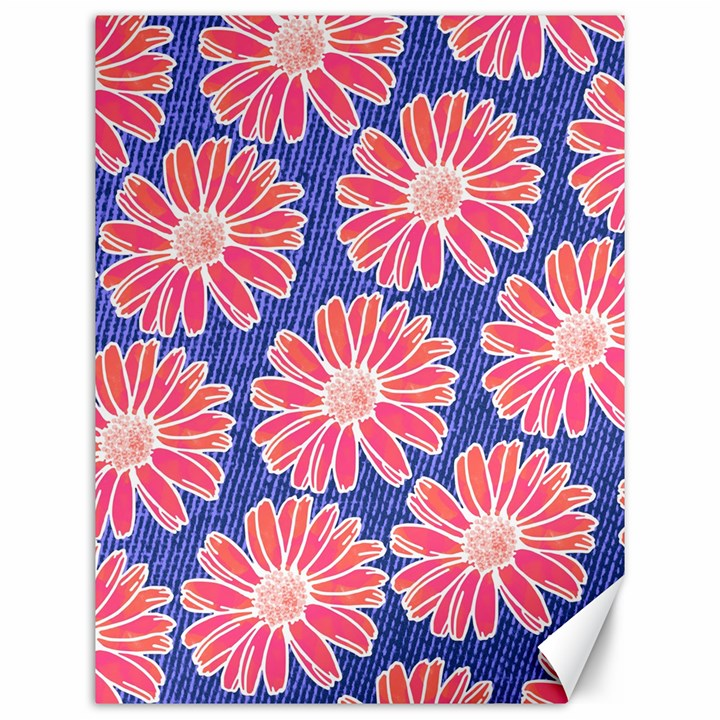 Pink Daisy Pattern Canvas 12  x 16
