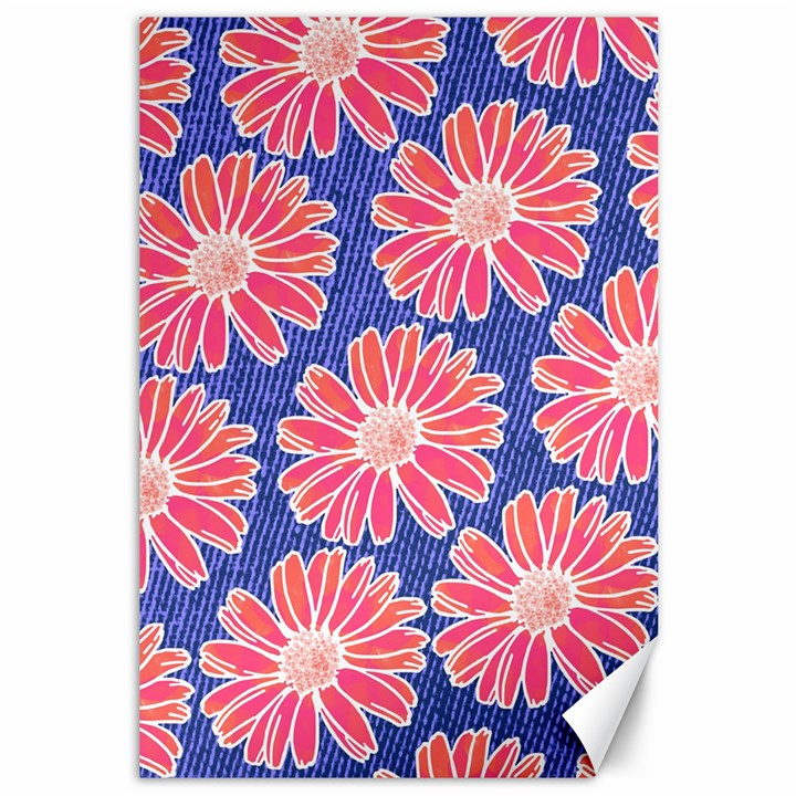 Pink Daisy Pattern Canvas 12  x 18